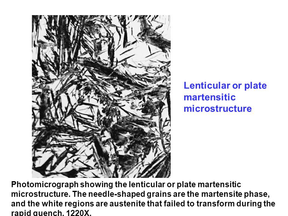 Lenticular or plate martensitic microstructure