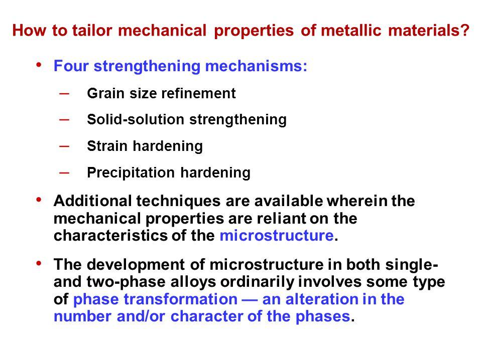 How to tailor mechanical properties of metallic materials