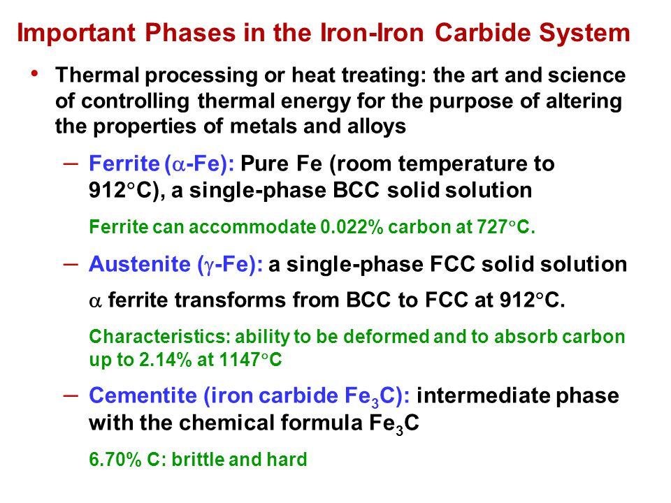 Important Phases in the Iron-Iron Carbide System