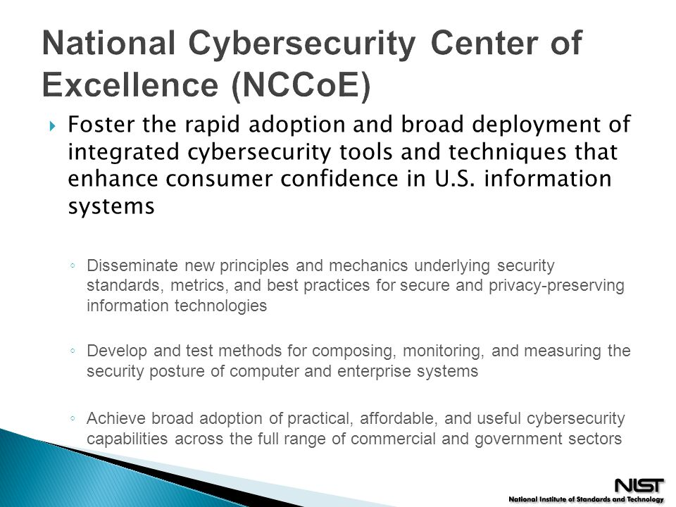 National Cybersecurity Center of Excellence (NCCoE)