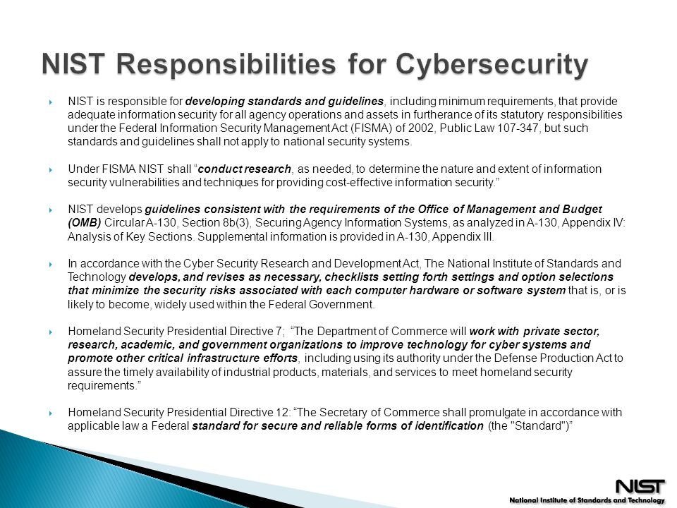 NIST Responsibilities for Cybersecurity