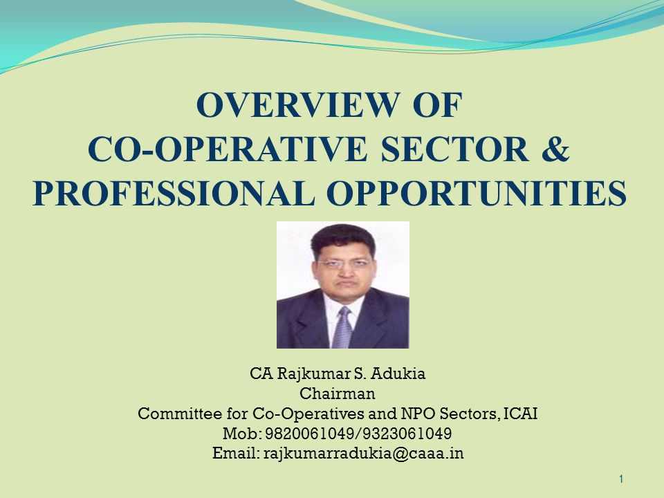 CO-OPERATIVE SECTOR & PROFESSIONAL OPPORTUNITIES