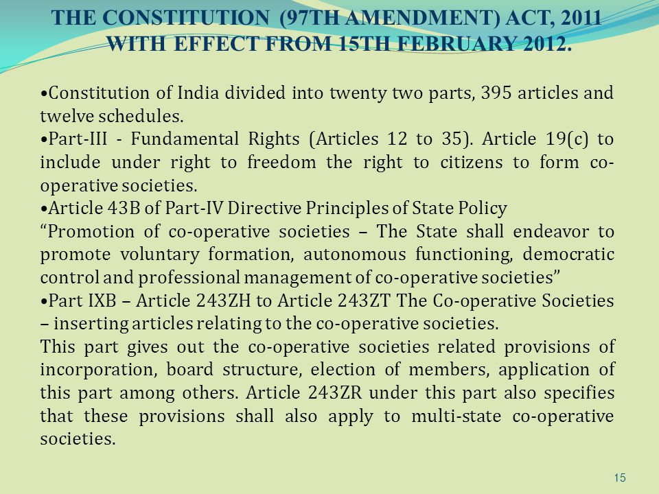 THE CONSTITUTION (97TH AMENDMENT) ACT, 2011 WITH EFFECT FROM 15TH FEBRUARY 2012.