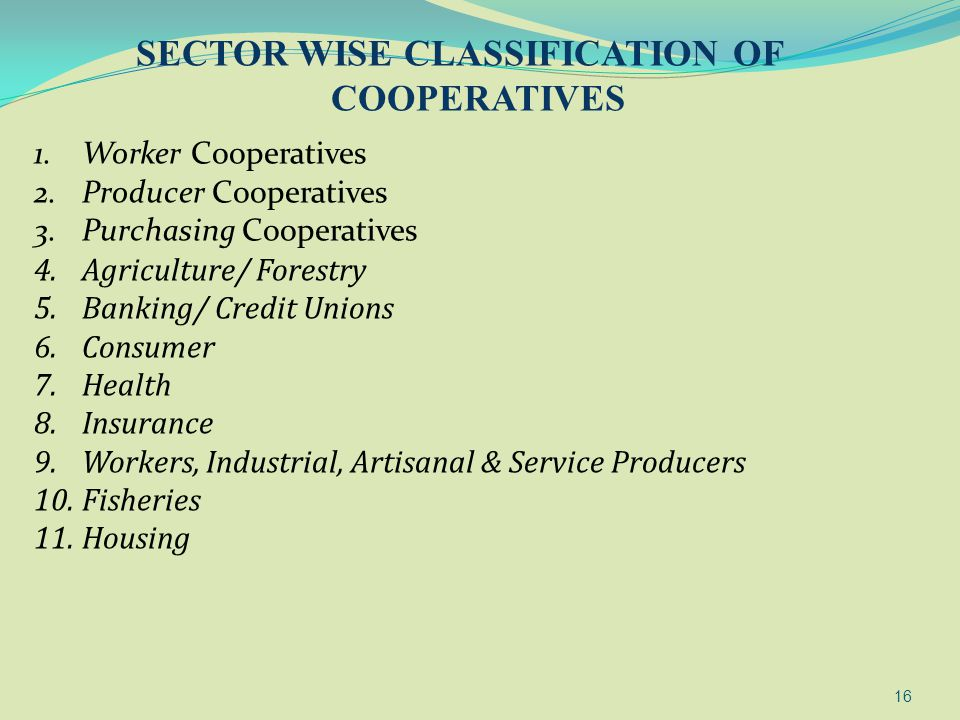 SECTOR WISE CLASSIFICATION OF COOPERATIVES