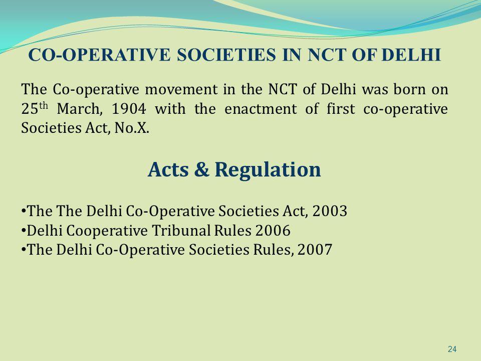 CO-OPERATIVE SOCIETIES IN NCT OF DELHI