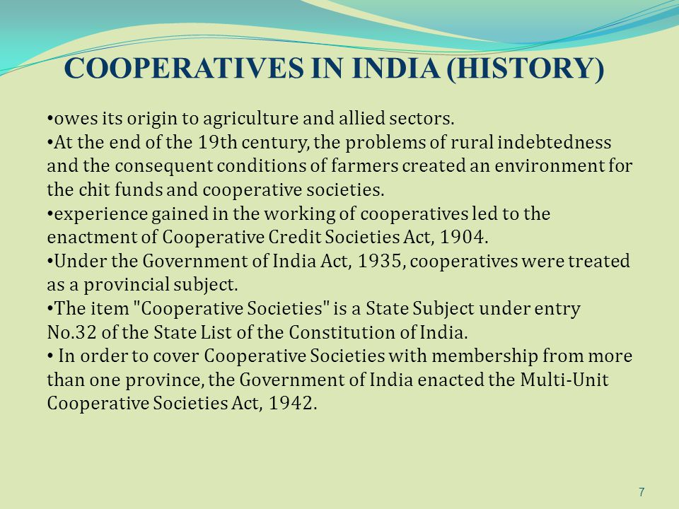 COOPERATIVES IN INDIA (HISTORY)