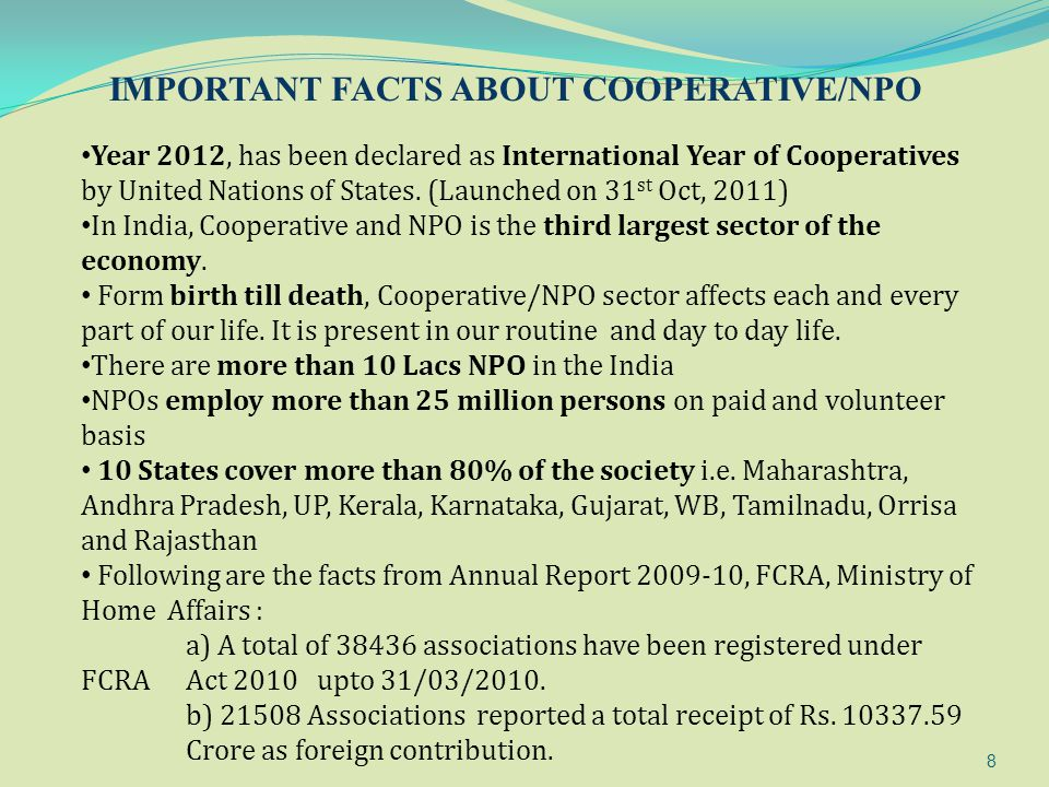 IMPORTANT FACTS ABOUT COOPERATIVE/NPO