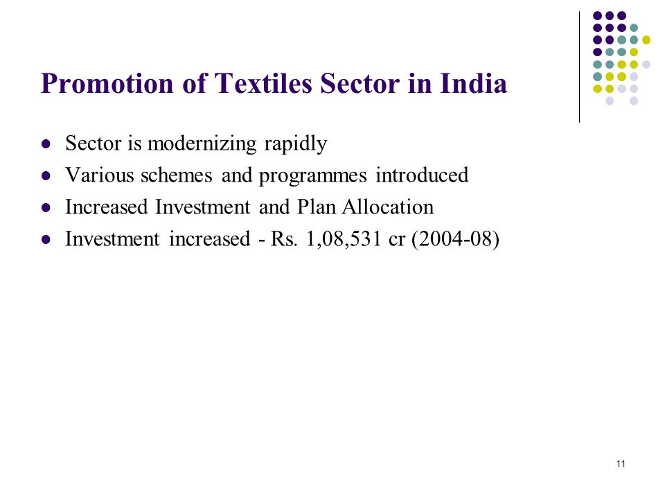 Promotion of Textiles Sector in India
