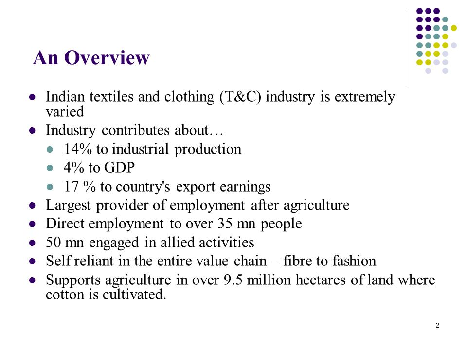 An Overview Indian textiles and clothing (T&C) industry is extremely varied. Industry contributes about…