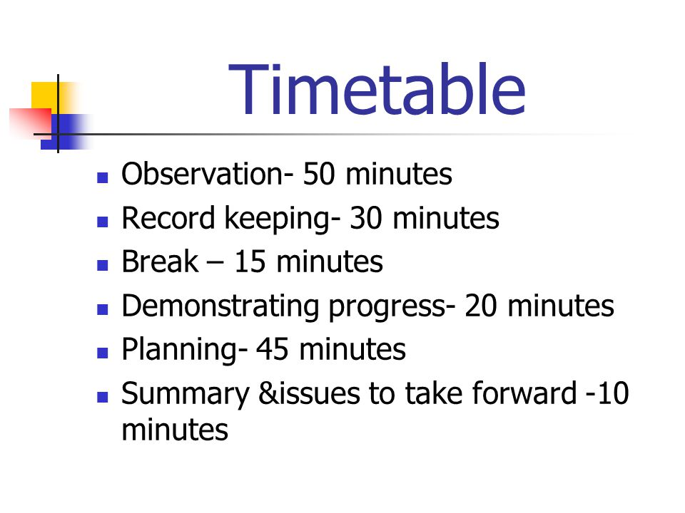 Timetable Observation- 50 minutes Record keeping- 30 minutes