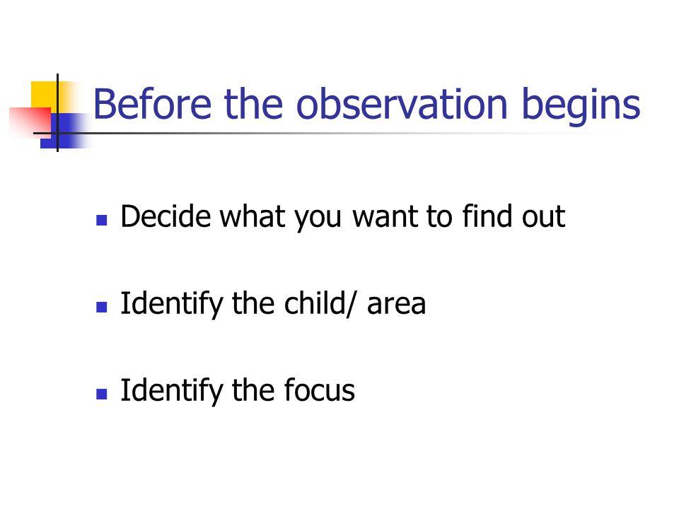 Before the observation begins