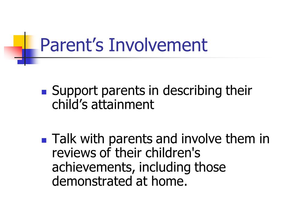 Parent's Involvement Support parents in describing their child's attainment.