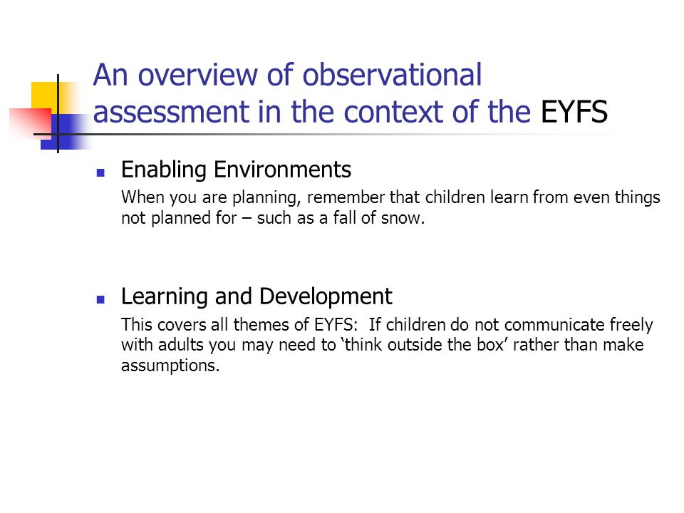 An overview of observational assessment in the context of the EYFS