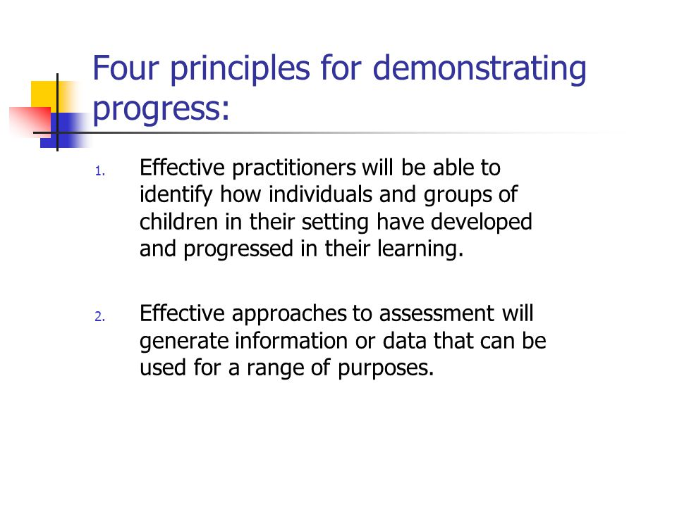 Four principles for demonstrating progress: