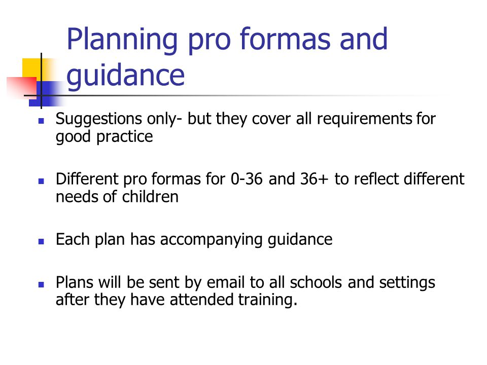Planning pro formas and guidance