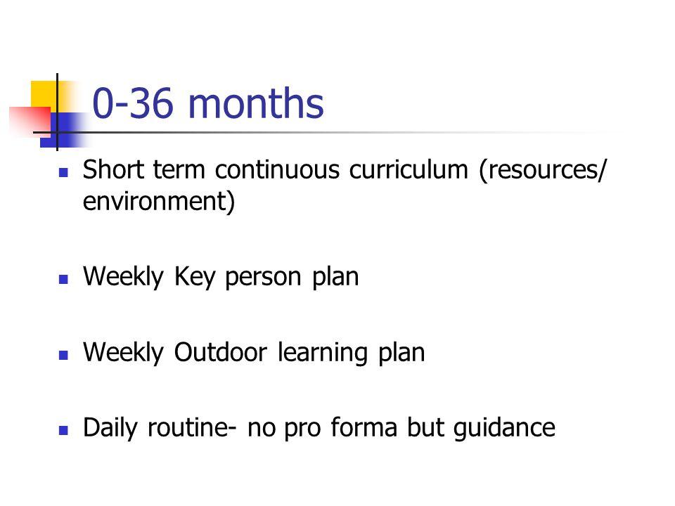 0-36 months Short term continuous curriculum (resources/ environment)