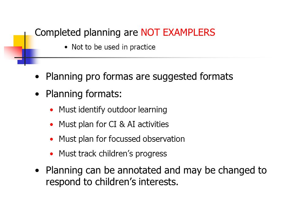 Completed planning are NOT EXAMPLERS