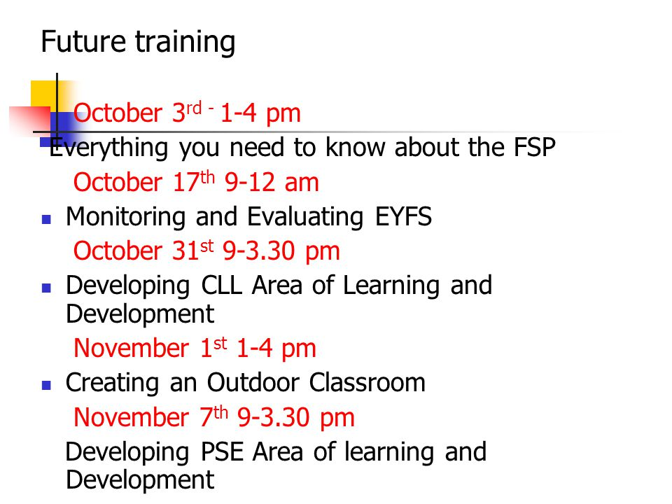 Future training October 3rd - 1-4 pm