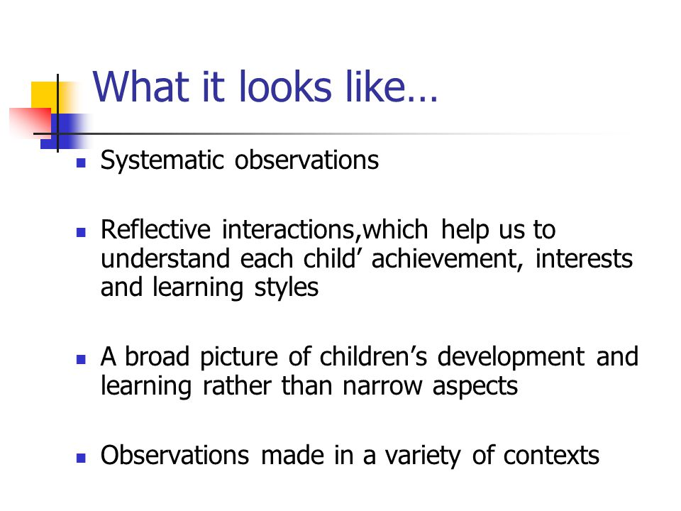 What it looks like… Systematic observations