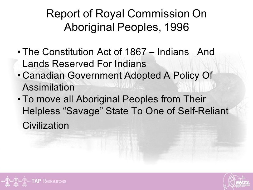 Report of Royal Commission On Aboriginal Peoples, 1996