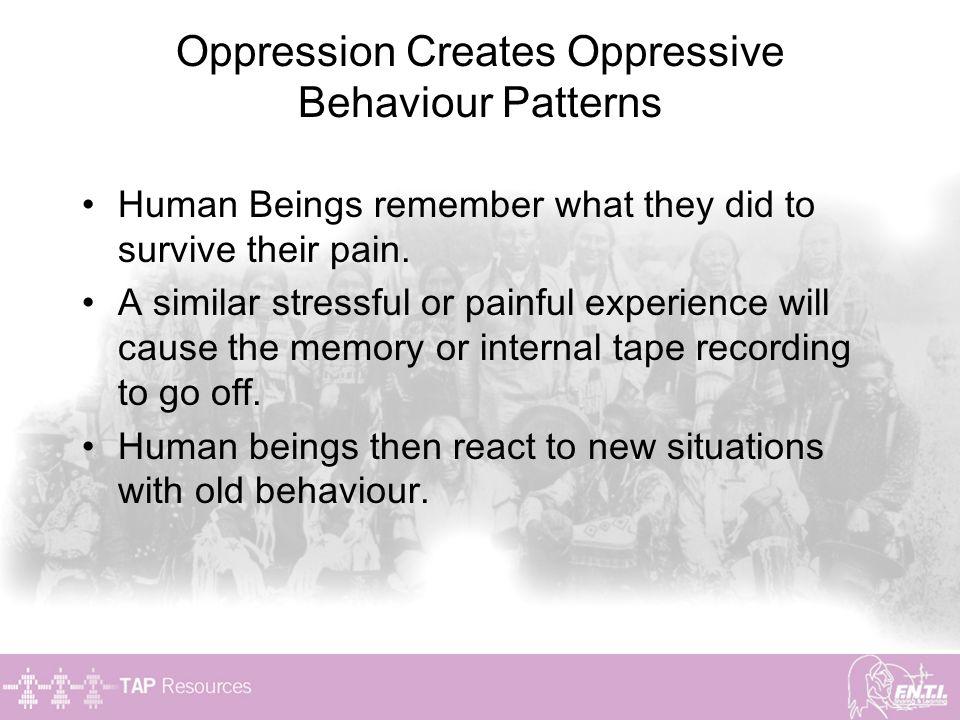 Oppression Creates Oppressive Behaviour Patterns