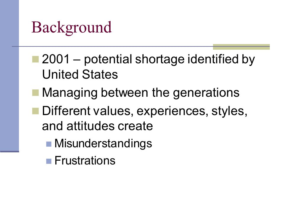 Background 2001 – potential shortage identified by United States