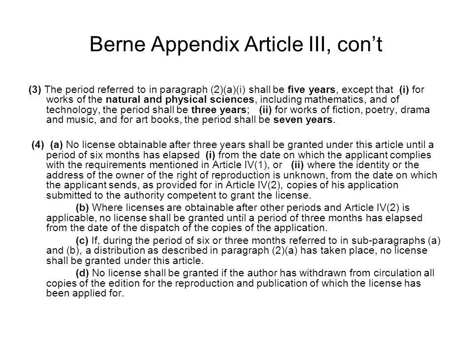 Berne Appendix Article III, con't