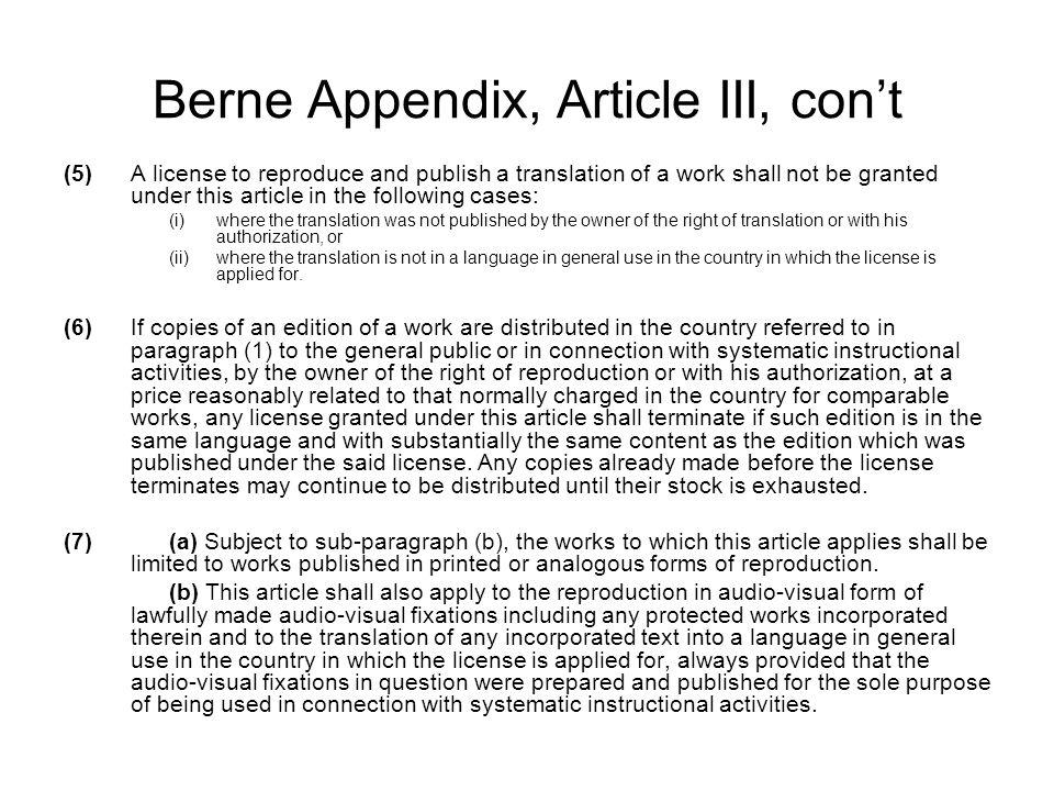 Berne Appendix, Article III, con't
