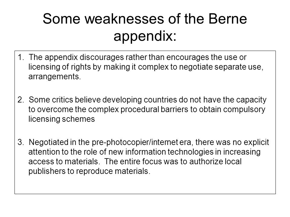 Some weaknesses of the Berne appendix: