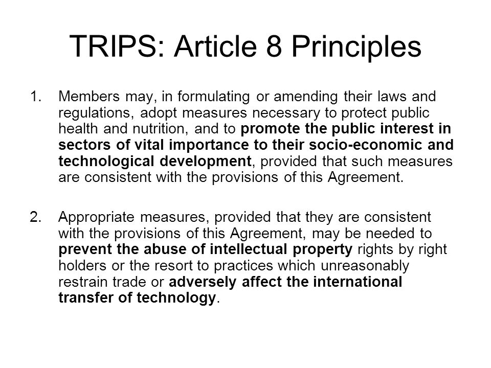 TRIPS: Article 8 Principles