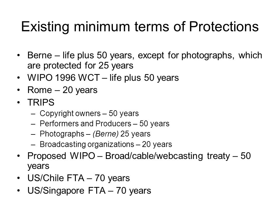 Existing minimum terms of Protections