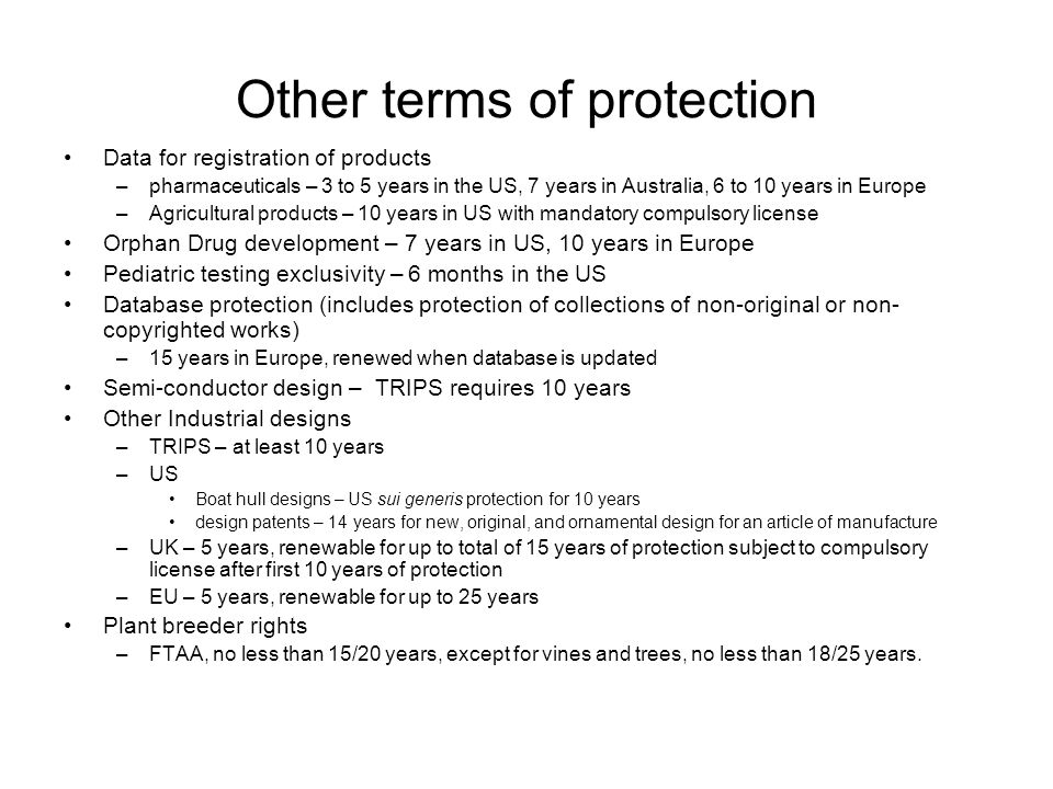Other terms of protection