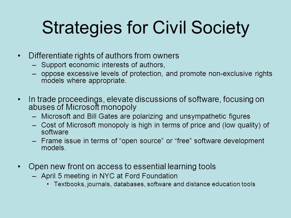 Strategies for Civil Society