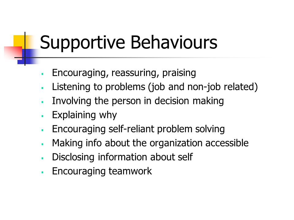 Supportive Behaviours
