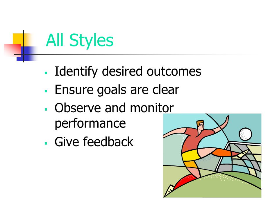 All Styles Identify desired outcomes Ensure goals are clear