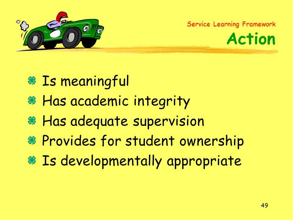 Service Learning Framework Action