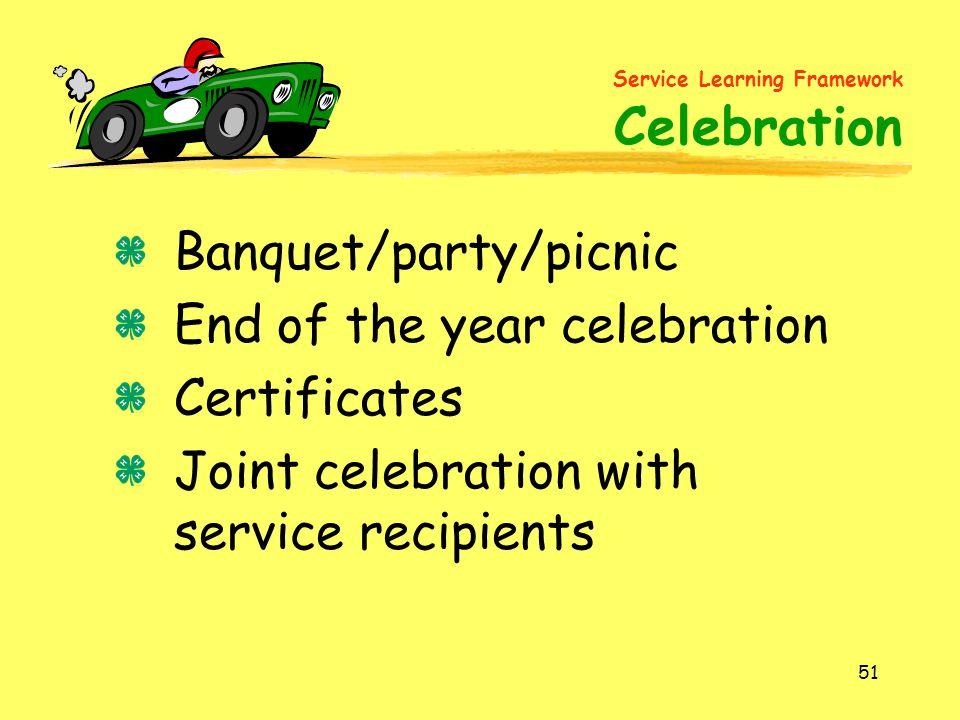 Service Learning Framework Celebration