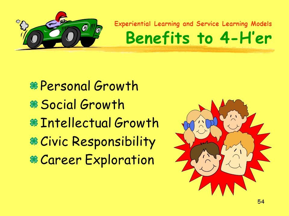 Experiential Learning and Service Learning Models Benefits to 4-H'er