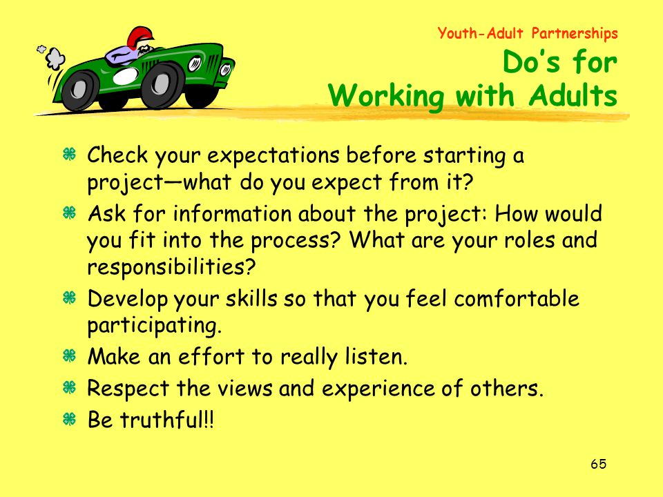 Youth-Adult Partnerships Do's for