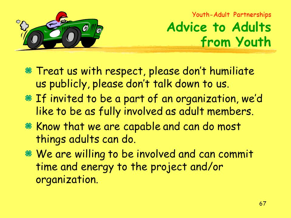 Youth-Adult Partnerships Advice to Adults