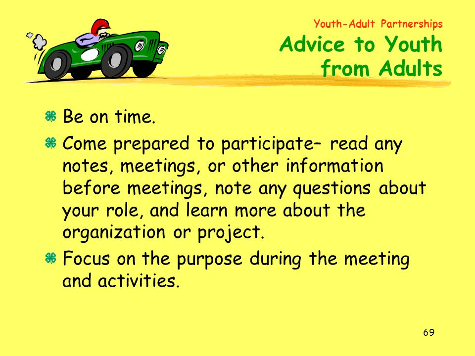Youth-Adult Partnerships Advice to Youth