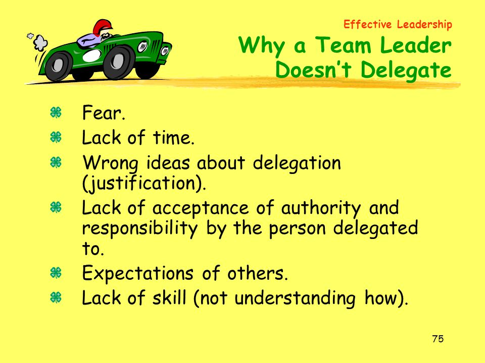Doesn't Delegate Fear. Lack of time.