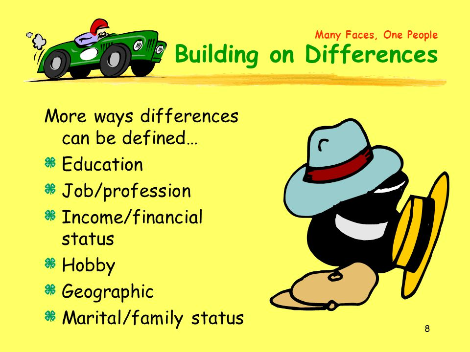 More ways differences can be defined… Education Job/profession