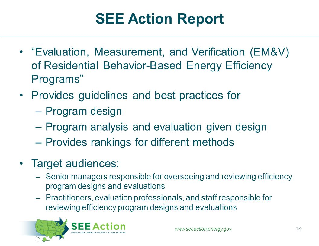 SEE Action Report Evaluation, Measurement, and Verification (EM&V) of Residential Behavior-Based Energy Efficiency Programs