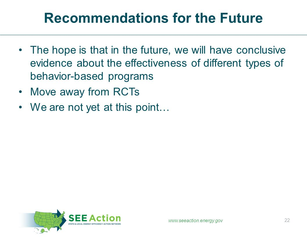 Recommendations for the Future