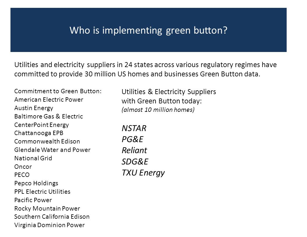 Who is implementing green button