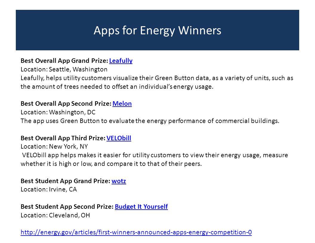 Apps for Energy Winners