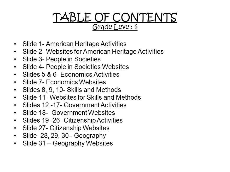 TABLE OF CONTENTS Grade Level: 6