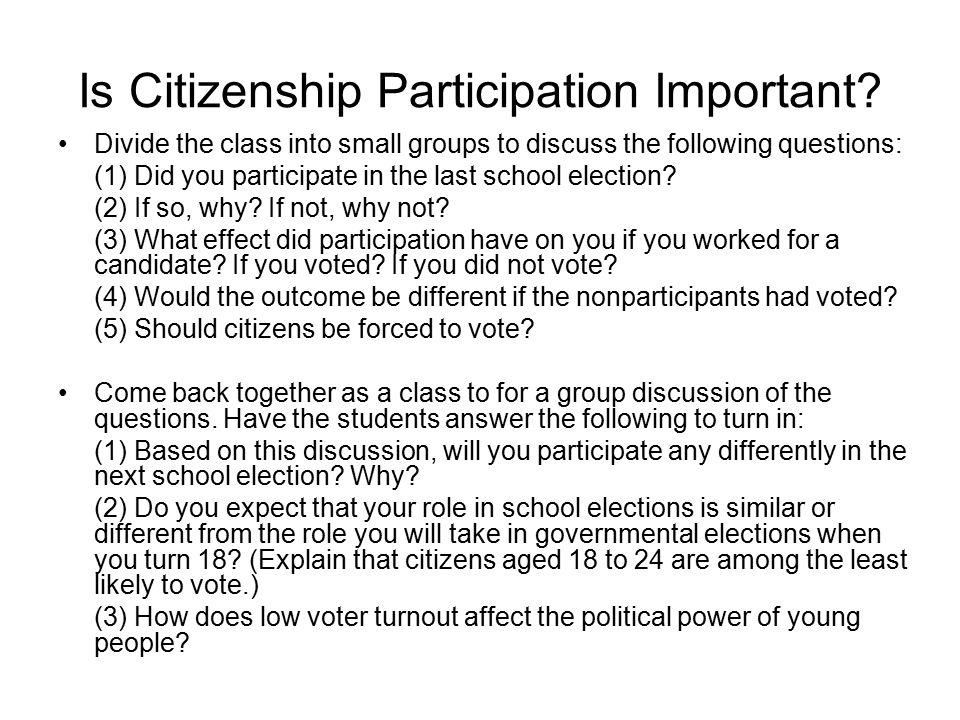 Is Citizenship Participation Important