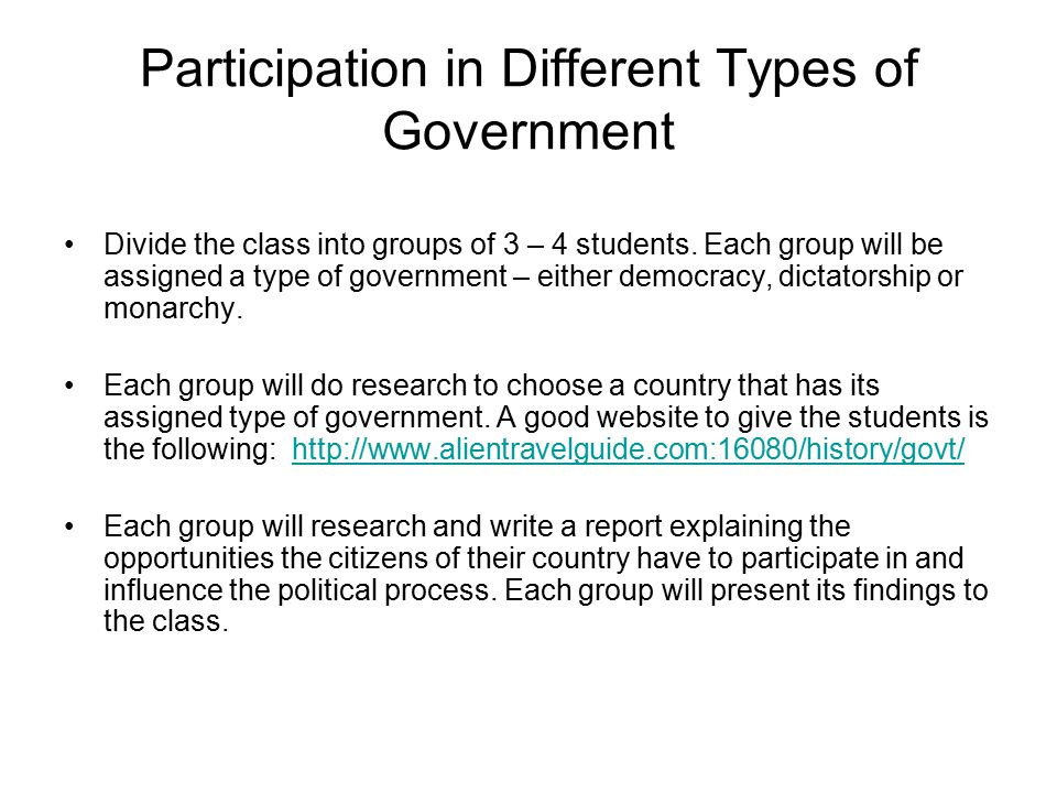 Participation in Different Types of Government